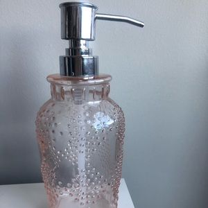 Pink Glass Soap Dispenser